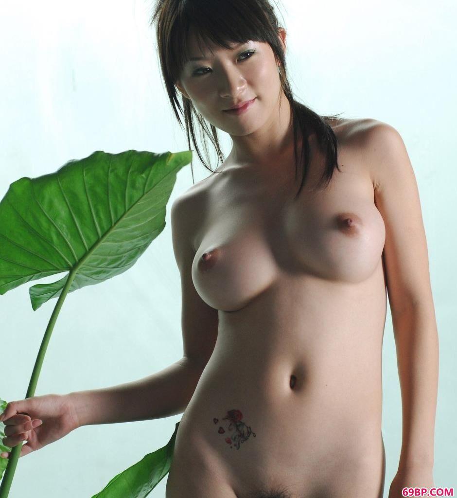 裸模孙迪室拍荷叶丰腴人体_清羽人体